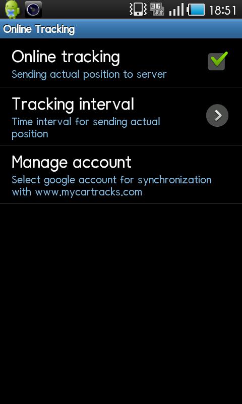 「Online Tracking」。「Online tracking」にチェックでオンライン上(Web)でトラッキング状態を見ることができます。「Manage account(使用しているGoogleアカウントの確認)」