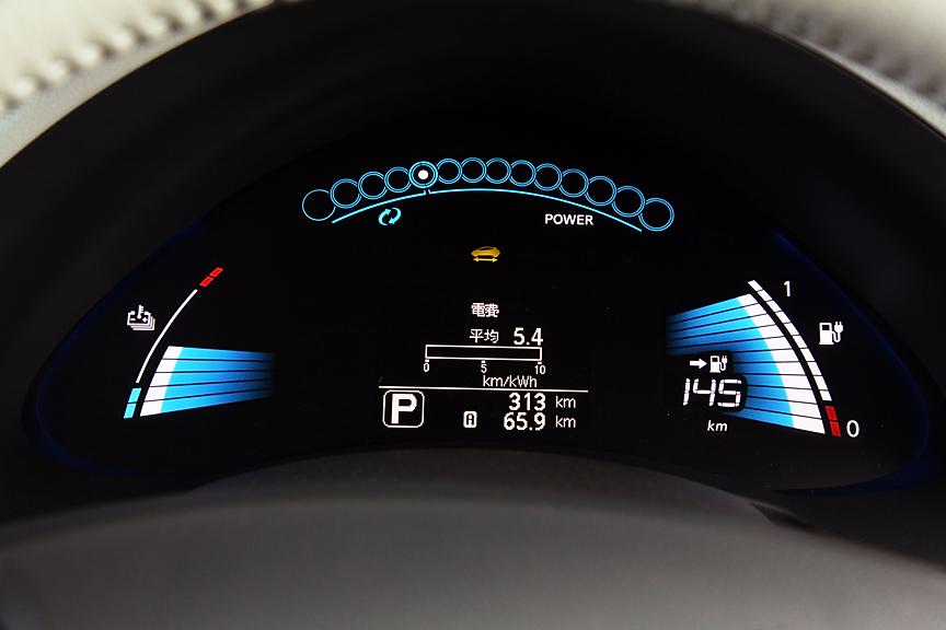 ロワーメーター上部はモーターの駆動と回生状態を示すパワーメーター。左側がバッテリーの温度計。右側バッテリーの容量/残量計。中央は情報表示部だ
