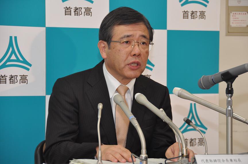 距離別料金制の移行について発表する、首都高速道路 代表取締役会長兼社長 橋本圭一郎氏