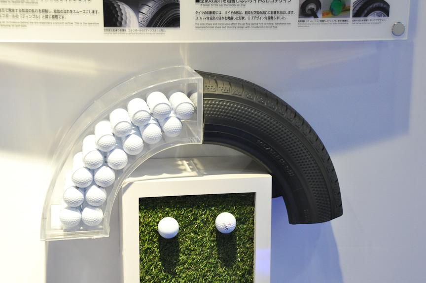 タイヤのサイドにディンプルを刻むことで、空気抵抗を抑制。放熱や静音性にも貢献。ゴルフボールのデザインテクノロジーが応用される