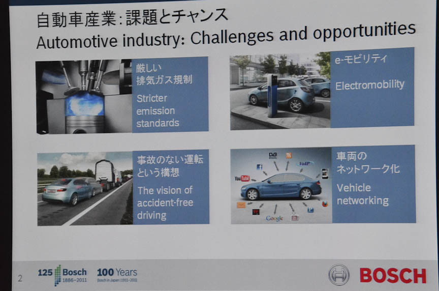 左はコンチネンタル、右はボッシュ、いずれも独のサプライヤーがプレスカンファレンスで示した、現代の自動車業界における重要なテーマ。表現の違いはあるが、「安全」「環境」「外部との接続」といった要素は共通している。また、コンチネンタルは新興市場向けの安価なソリューションも、テーマにあげている