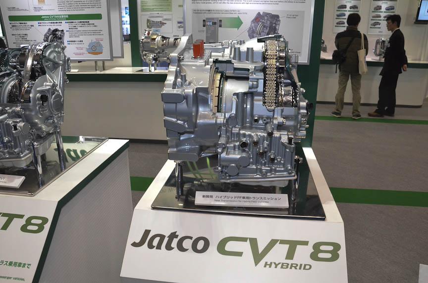 CVT8をベースとしたハイブリッド用CVT「CVT8ハイブリッド」。1モーター2クラッチ方式を採用する。日産が2013年から採用するFF用ハイブリッドシステムと思われる。