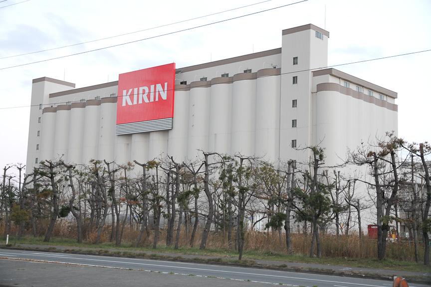キリンビール仙台工場。被害の大きかった工場だが、すでに生産を再開しており、工場見学も可能