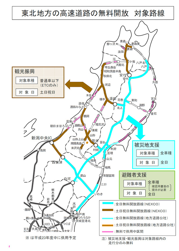 東北地方の高速道路無料化図