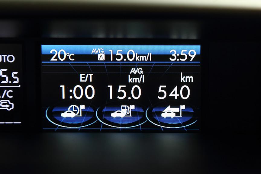 三連メーター。左から走行時間、平均燃費、走行距離
