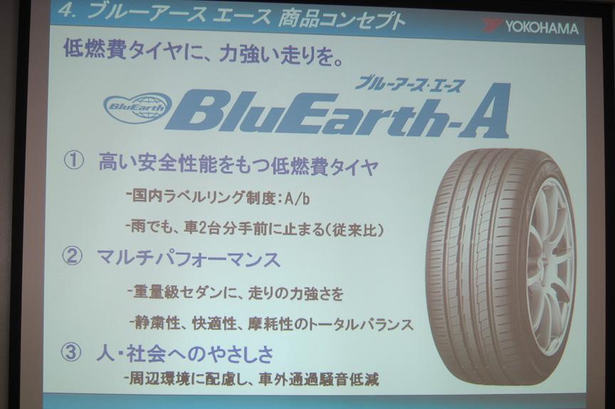 ブルーアース・エースのコンセプト。低燃費タイヤ性能に加え、走りの性能を打ち出している