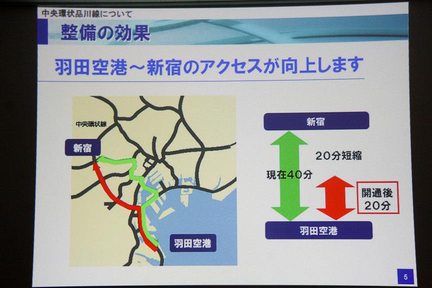 羽田空港~新宿の所要時間が従来では40分のところ、20分短縮できると言う