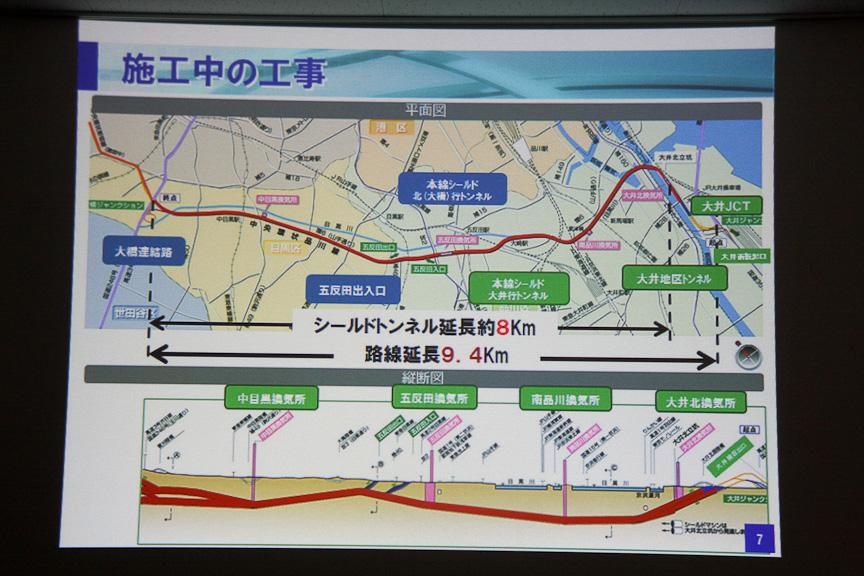 首都高、東京都それぞれが施工中の工事。青塗りの部分が首都高、緑塗りの部分が東京都が実施しているものとなる