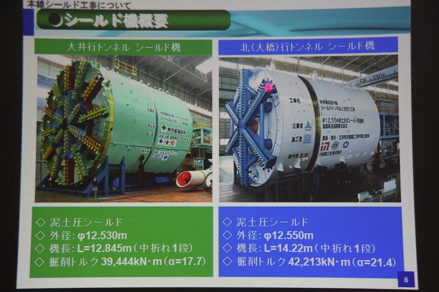 大井行トンネルと北(大橋)行トンネルで使われたシールドマシン。サイズ、スペックはほぼ同等で、同時期に掘削を開始したものの、東京都側が昨年末に掘削を終了。首都高側はトラブル等により掘削が終了したのは3月だったと言う