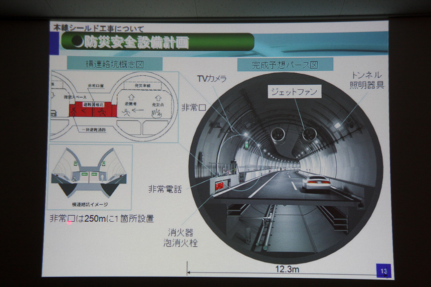 品川線の防災設備について。非常口は250m間隔で1個所設置される