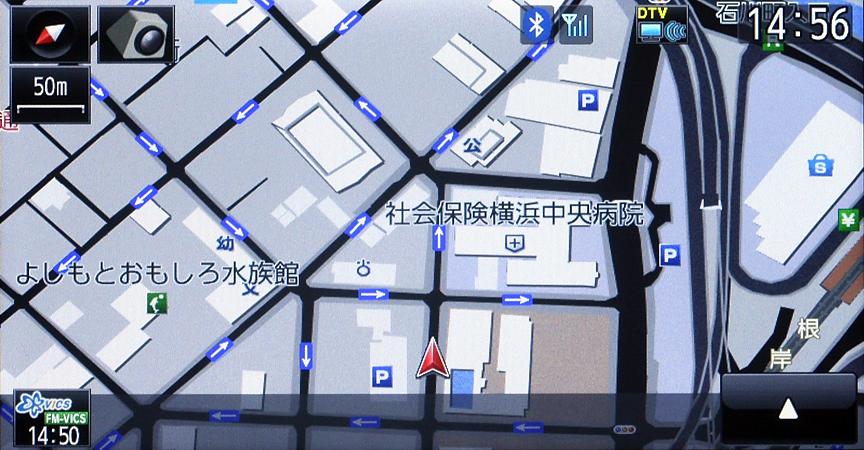 一方通行表示は市街地図スケールのみ