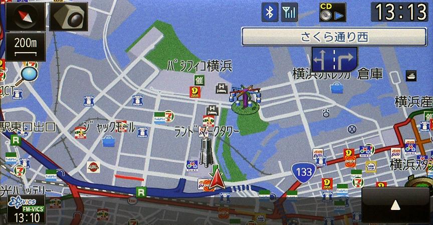 100m以上のスケールでの地図表示。基本的に道路の表現を重視した地図といえる