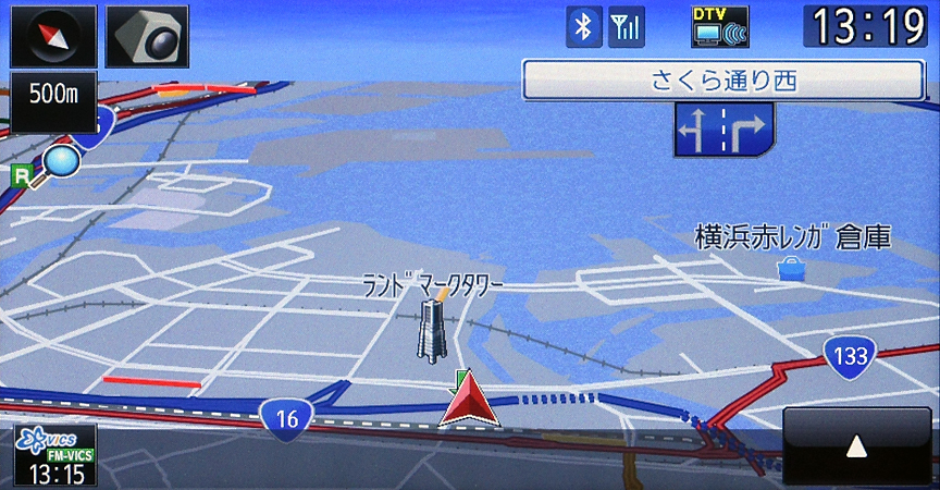 3Dタイプの地図表示。市街地図では建物を立体的に表示する