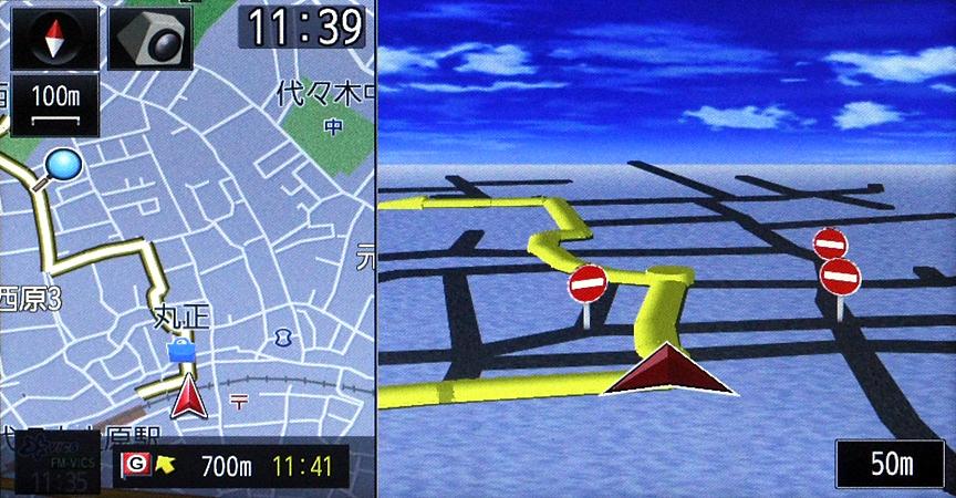 細街路ではルート表示の色が変わる。細街路でも拡大図が表示されるので、住宅地の先にある分かりづらい目的地でも安心だ