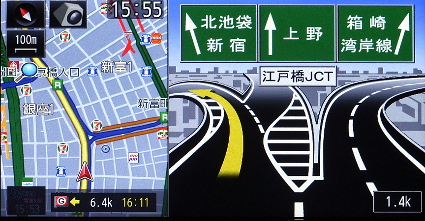 都市高速の分岐点もイラストで案内。車線や分岐の様子が分かりやすい