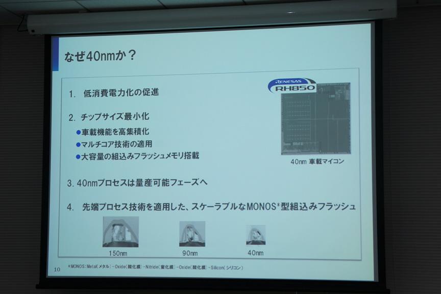 40nmを採用することでチップサイズの減少や消費電力の削減などの効果がある