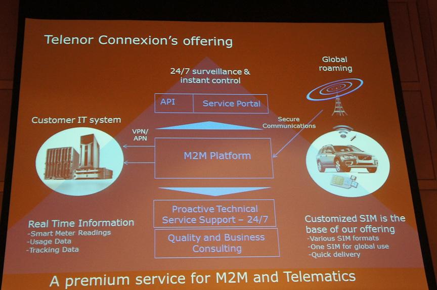 テレノアコネクションの提供するM2Mソリューション。サーバーだけや、回線だけではなく、回線もサーバーもまとめて提供する。かつ傘下のキャリアやローミングパートナーを活用して複数国で利用できる
