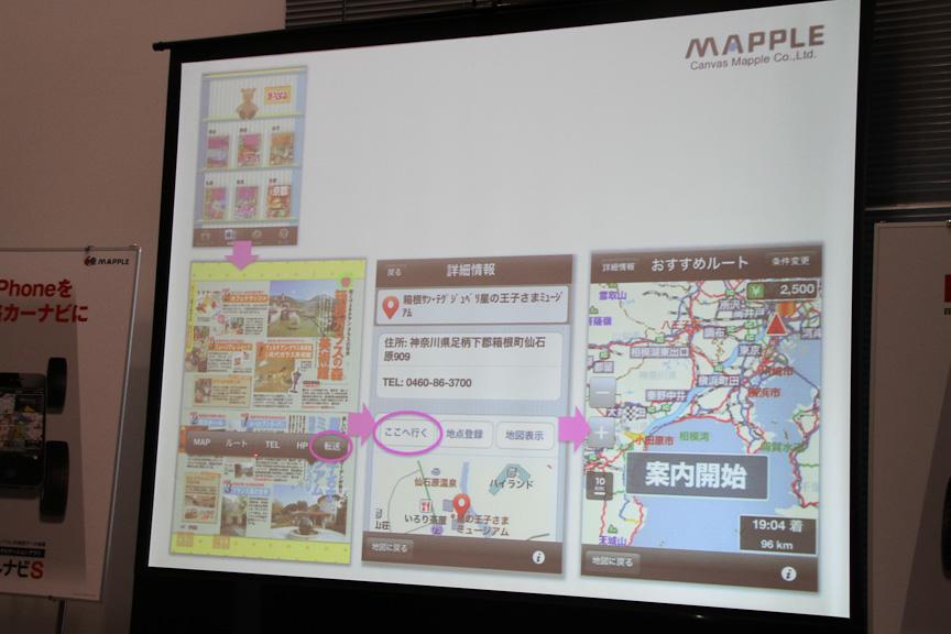 「ことりっぷ」や「まっぷるマガジン」など電子書籍アプリと連携し、目的地を設定することもできる