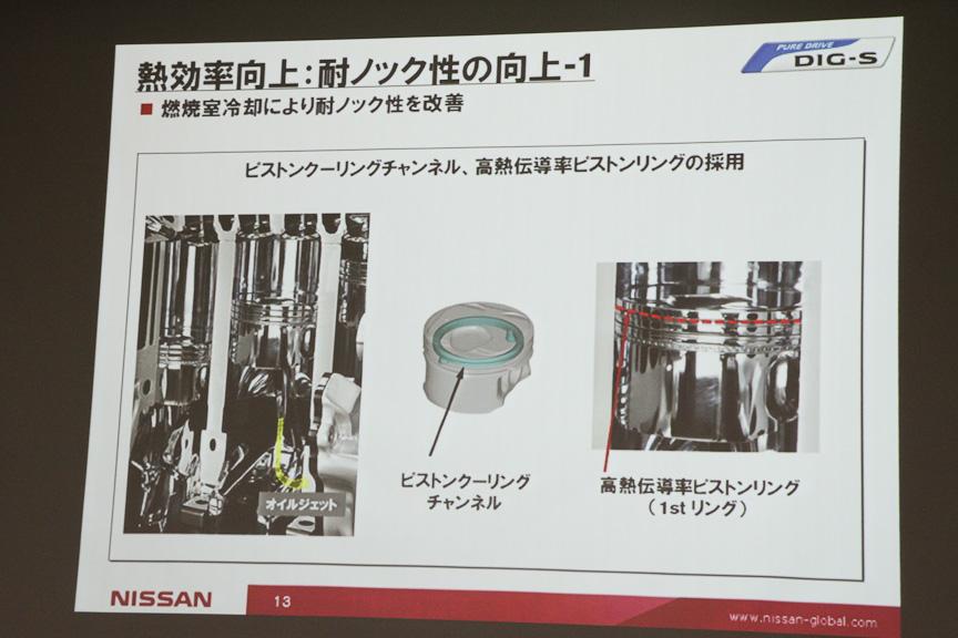 燃焼室から熱を取り除くことを目的にピストンクーリングチャンネルや高熱伝導率ピストンリング、Na封入排気バルブ、真鍮バルブガイドなどを採用