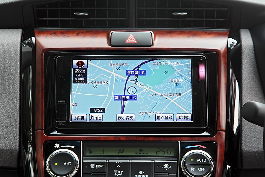 オーディオは全車レス仕様でラグゼールとG系は4スピーカー、そのほかは2スピーカー。写真のナビゲーション「NSLN-W62」はディーラーオプション