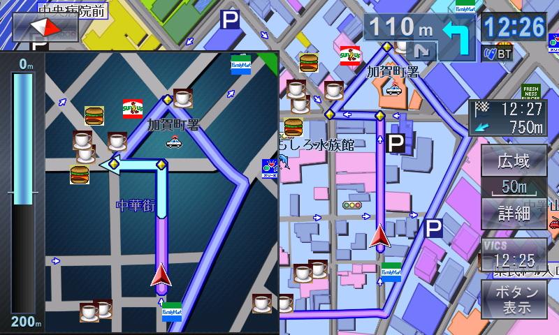 細街路でも拡大図を表示してくれるため、複雑な場所や一方通行が込み入った道路などでも安心