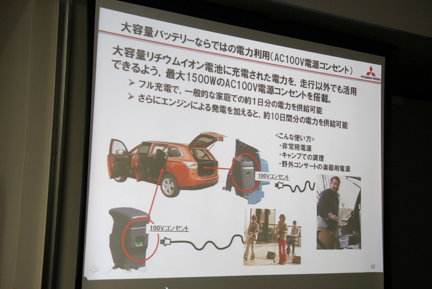 ドライブ先でも便利な電化製品を手軽に利用できる。EVとは違い、電気を使いすぎて帰れない、なんて心配とも無縁だ