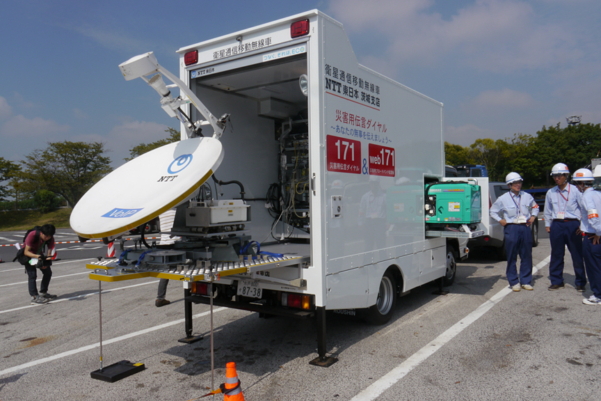 NTT東日本の衛星通信移動無線車