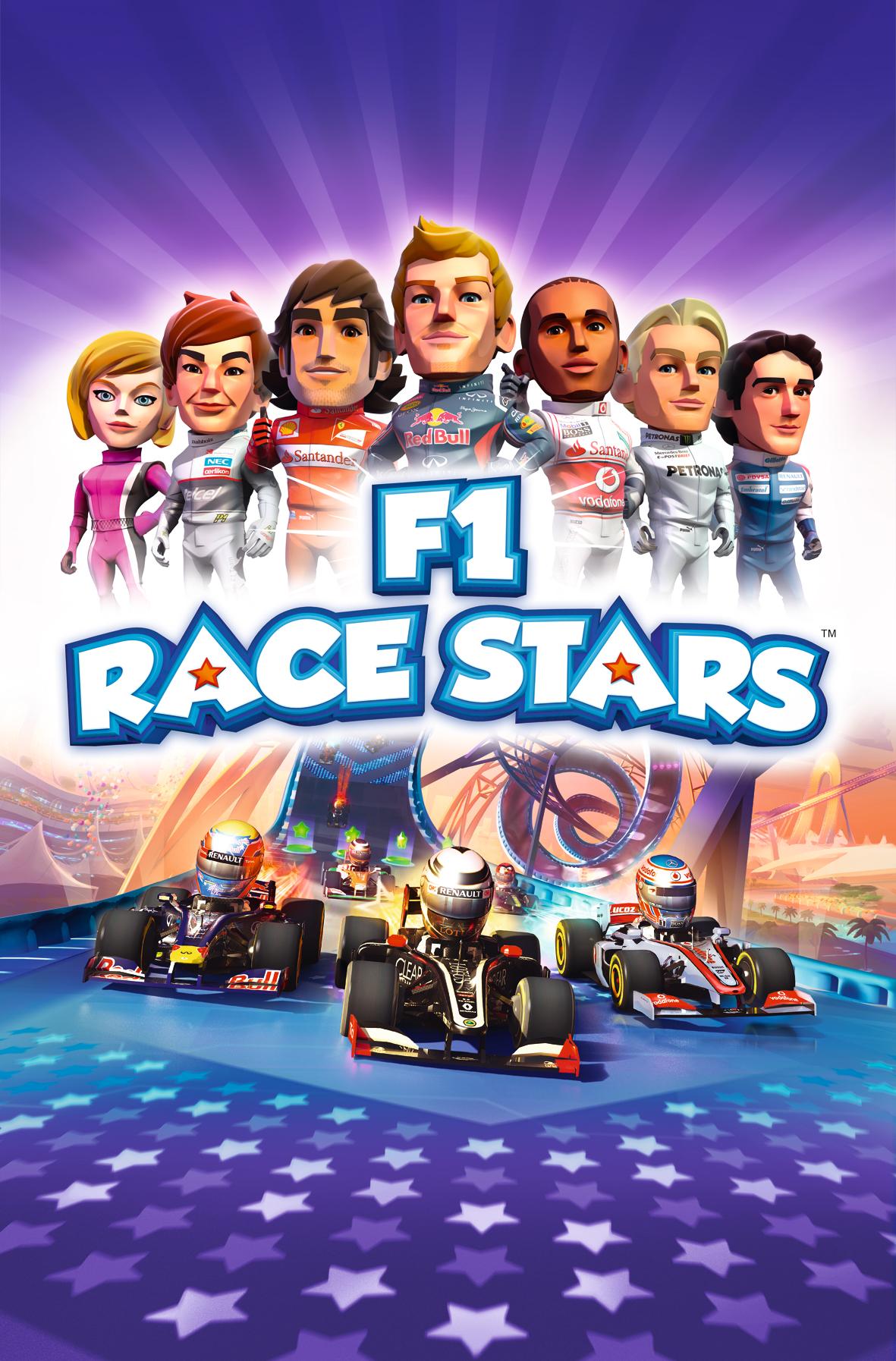 F1 RACE STARSのパッケージビジュアル。小林可夢偉選手が登場するのは日本版のみ