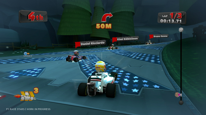 KERSやDRSといった現代F1を象徴する装備に加え、ゲームオリジナルのアイテムを駆使したオーバーテイクも可能だ(ゲーム画面は開発中のものです)