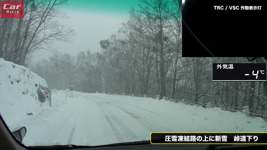 ABSの普及により、信号手前など皆がブレーキングするポイントは砕かれた圧雪が散らばっている状態に。昔ならツンツルテンに磨き上げられていたポイントだ