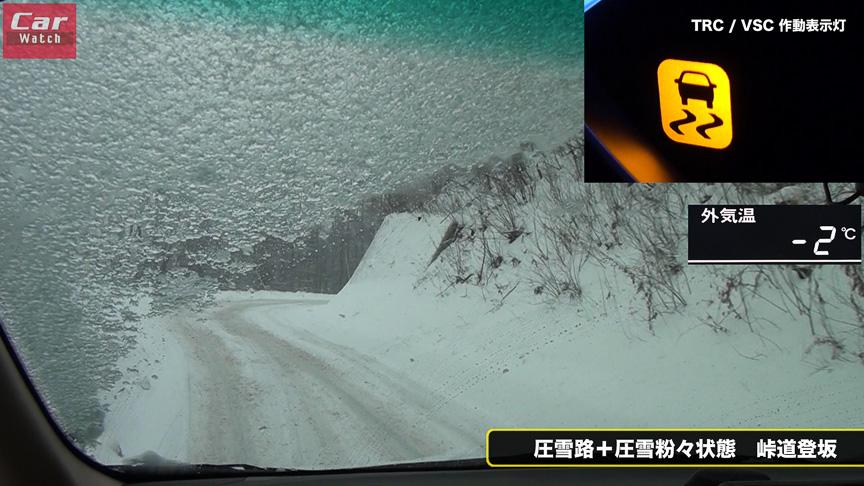 ラムネをばらまいた上を走るような状態だが、粉々の圧雪をしっかり掻き出して、その下の凍結路面をガッチリとらえて登坂するREVO GZはスゴい!