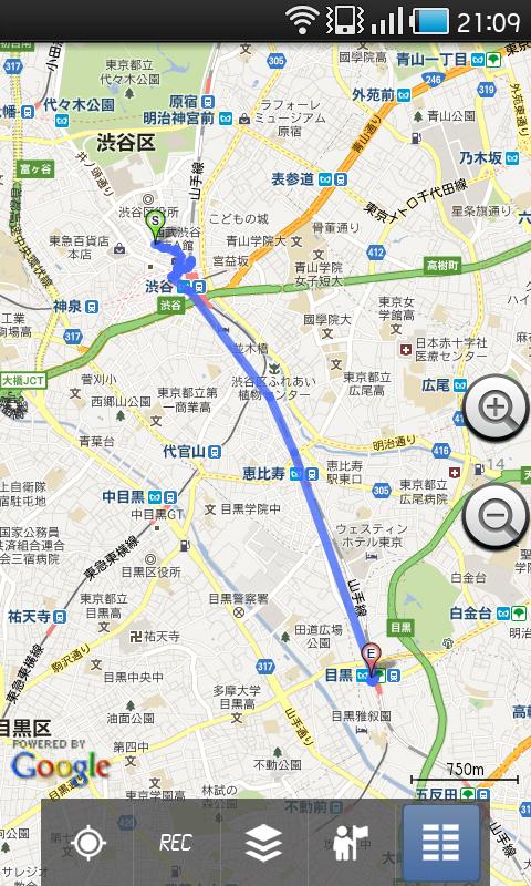 トラックのリストで「地図上に表示」を選んだところ。ここではGoogleマップに表示しています