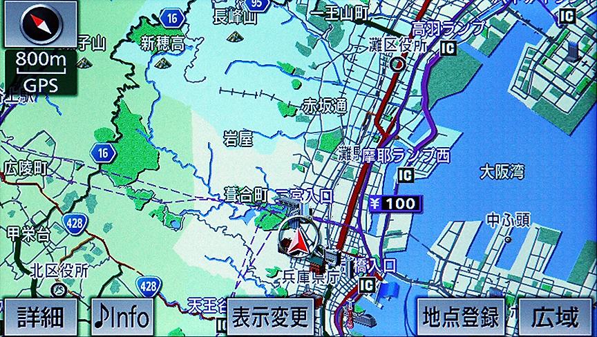 800mスケール。今回は表示していないがVICS情報を地図上に表示できるのはここまで
