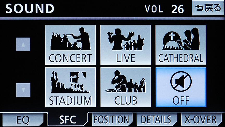 サウンドセッティングも豊富。これはSFC(サウンドフィールドコントロール)と名付けられたホールなどの音場シミュレーションを行うモード