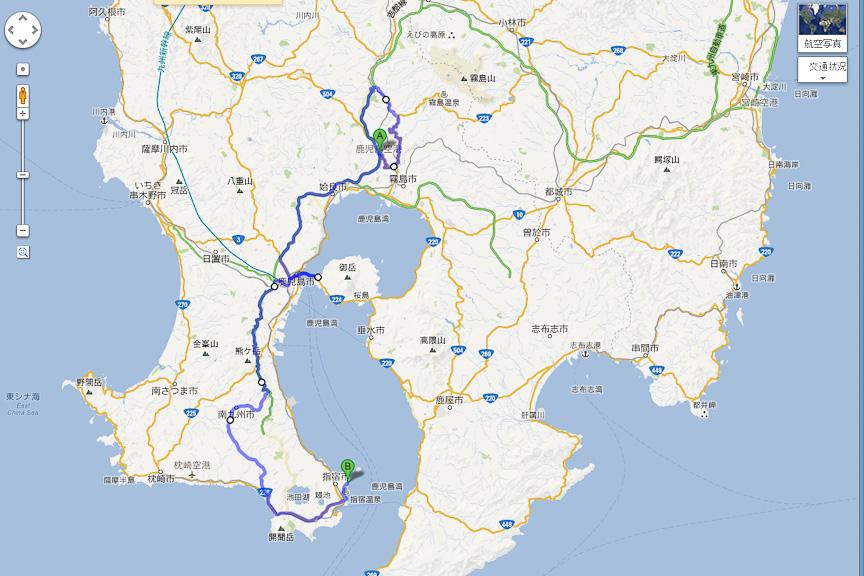 今回の旅程。鹿児島空港前のかごしま空港ホテルから、指宿にある白水館を目指す。往路と復路では若干経路が異なり、復路においては桜島に立ち寄った
