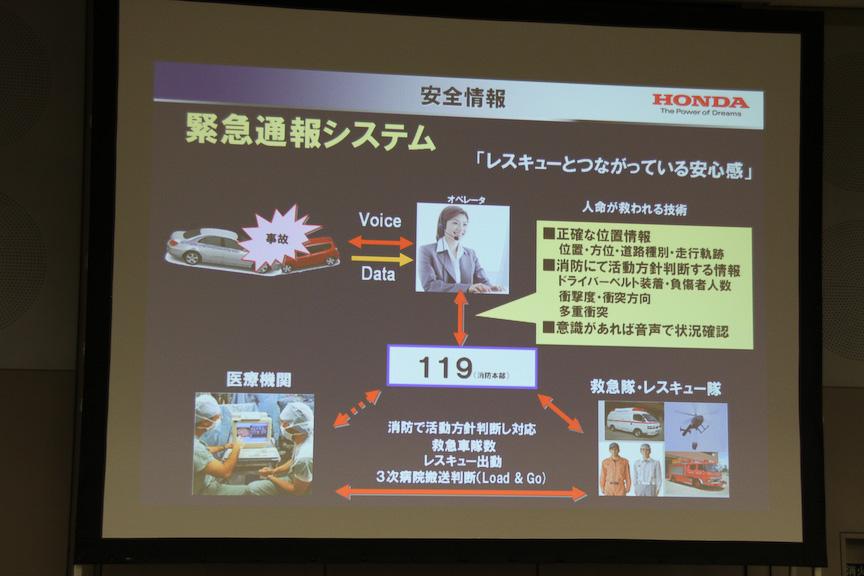緊急通報システムでは、事故でエアバッグが作動した際に日本緊急通報サービスが運営する「HELPNET」に通報し、専門のオペレーターが通報内容に応じて消防や警察に出動を要請してくれる