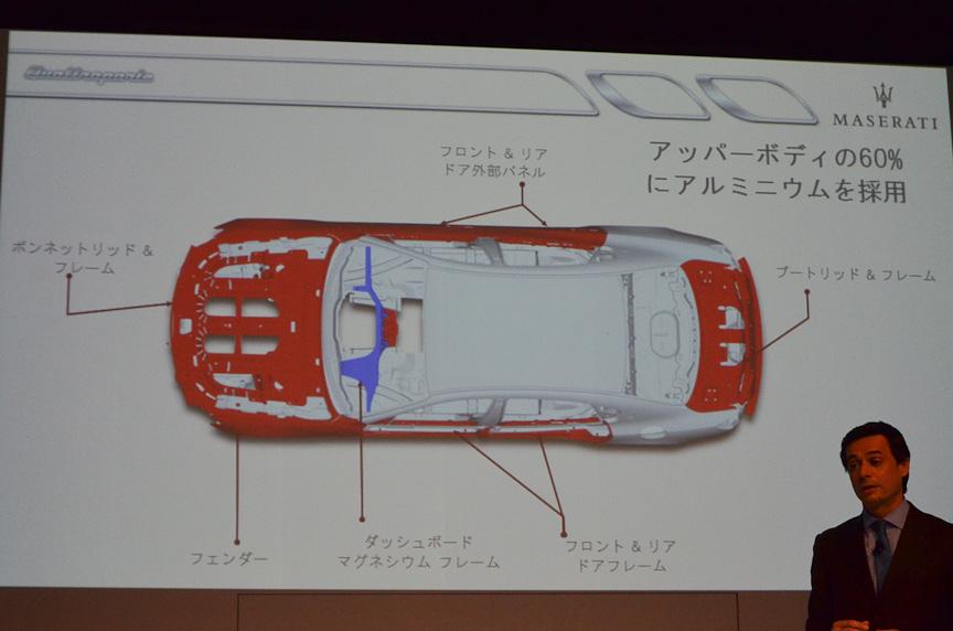 アッパーボディーの60%にアルミニウムを採用して車重を抑えた