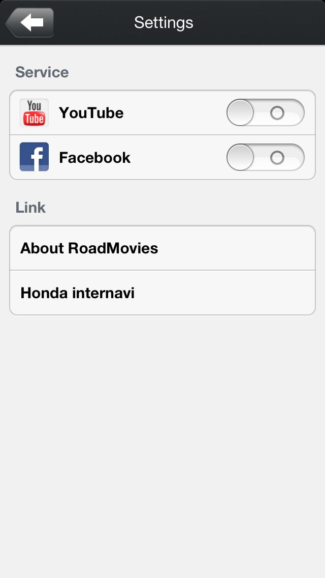 Settings。ボタンをスライドさせるとYouTubeとFacebookのログイン設定ができるよ