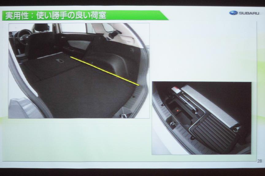 ラゲッジルームは従来車同等の容量を確保