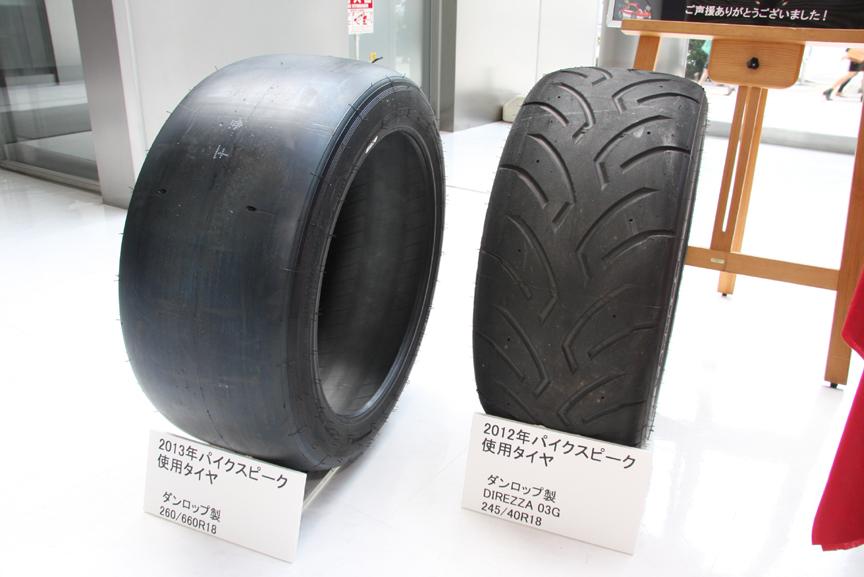 車両規則が変更されてスリックタイヤが使用可能になった。8%向上という数値は小さいようだが、最終的には20秒のタイム短縮が見込めるという