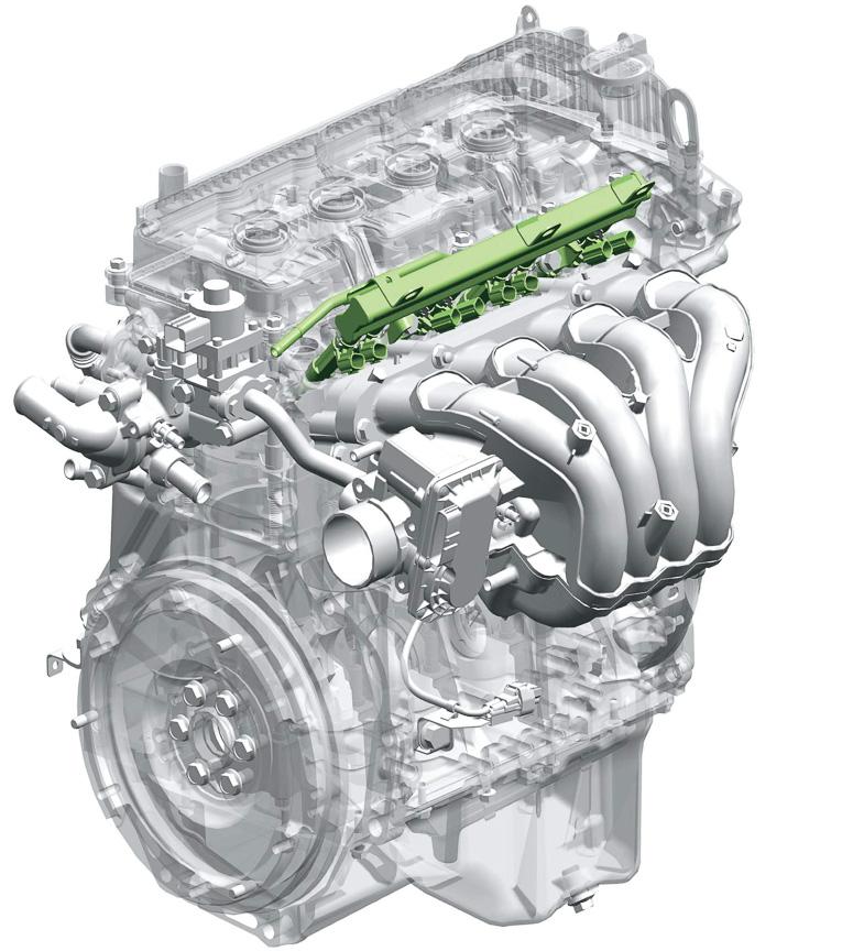 新開発の「K12B(デュアルジェット)」エンジン。1気筒ごとに2つのインジェクターを設置し、合計8つのインジェクターを装備。燃料をより細かい霧状にして燃焼室内に噴射することで熱効率が向上。また、圧縮比を高めて燃焼室内の筒内温度が上昇してもノッキングを起こさないよう、排出ガスの一部を冷却して燃焼室に再循環させる「クールドEGRシステム」を採用する