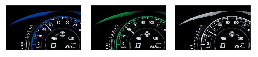 DJE系が装着する専用メーターでは、メーター内の照明色を通常運転時は青、燃費効率がよい状態では緑、エネチャージ作動時は白と変化させることでエコドライブをアシスト。また、スピードメーター内に設置された画面には、バッテリーの充電状況やアイドリングストップの作動などを表示する「エネルギーフローインジケーター」、積算アイドリングストップ時間やアイドリングストップで節約した燃料、航続可能距離などの情報をユーザーが選んで表示できる「マルチインフォメーションディスプレイ」などを用意する