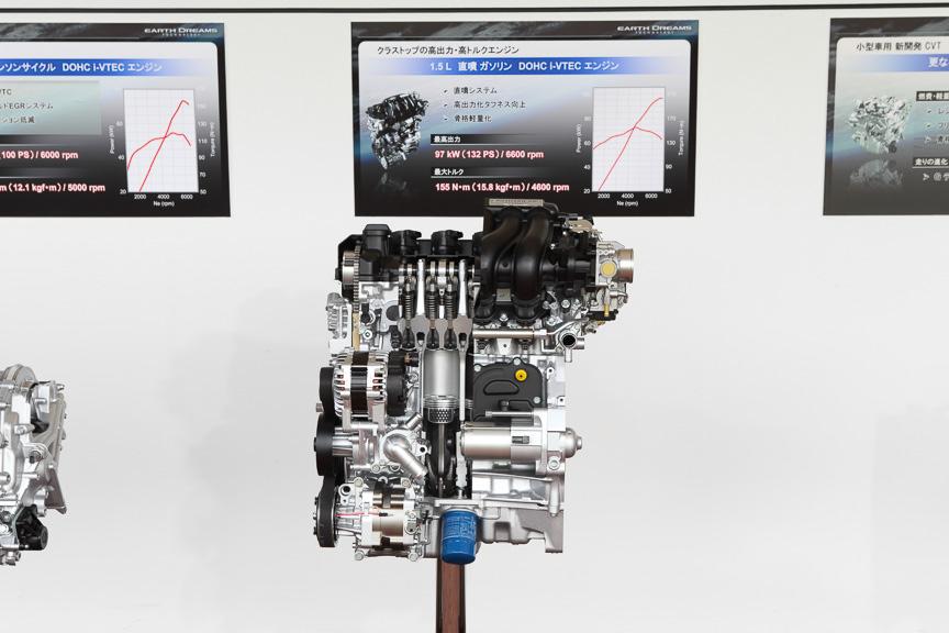 97kW(132PS)/155Nm(15.8kgm)の直列4気筒DOHC 1.5リッター直噴エンジン