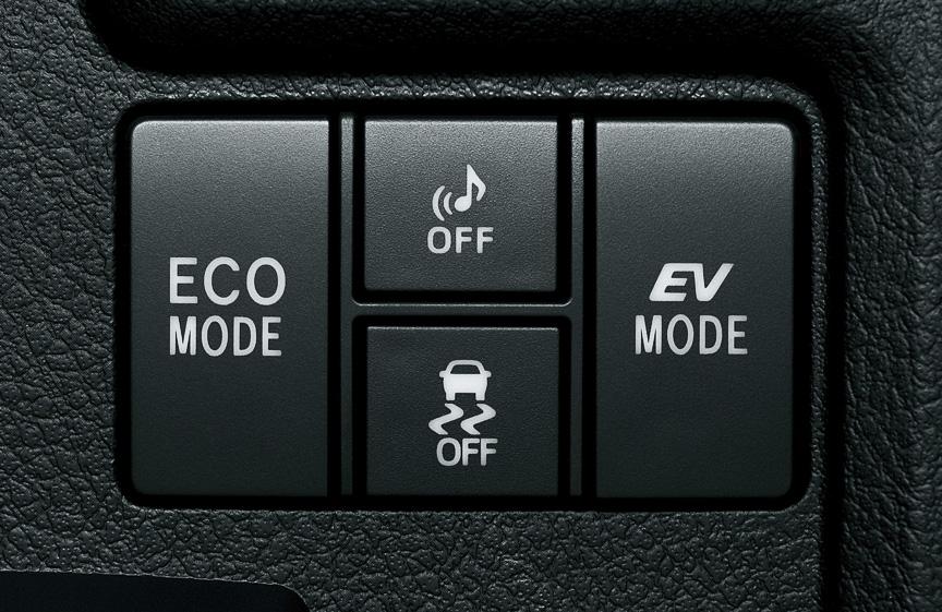 燃費優先の制御になる「エコドライブモード」、モーターだけで走行する「EVドライブモード」といったハイブリッドモードの制御スイッチのほか、「車両接近通報装置」のオフスイッチ、全車標準装備のVSC解除スイッチを備える