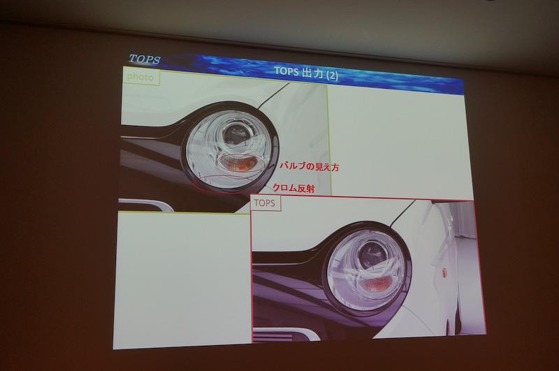 従来はCGでは確認することが難しかったヘッドランプのガラスの反射などもTOPSでは確認できる