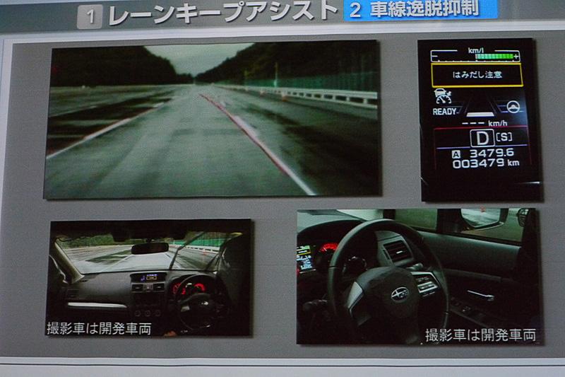右上が車線逸脱抑制機能を使用中の画面。アラートとハンドルへのトルクによってドライバーに注意を促す