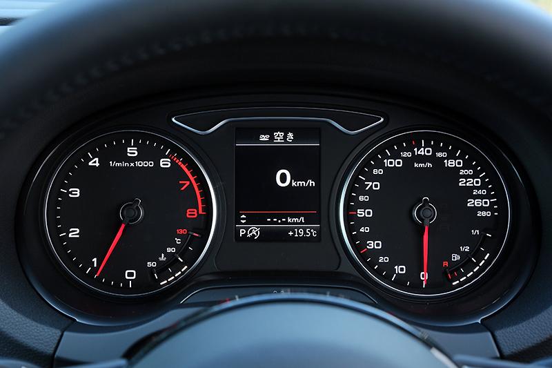 280km/hまで速度表示を刻むメーターパネル。燃料計と水温計を左右のメーター内に電子的な表示で組み込んでいる