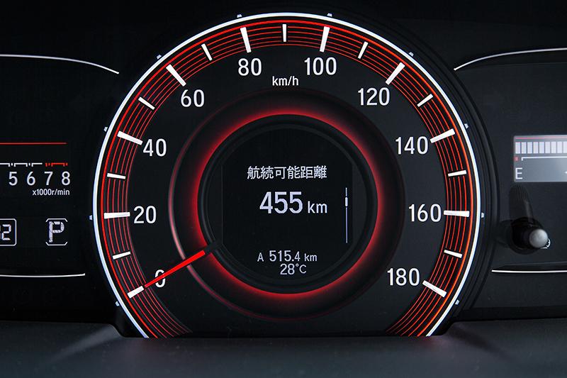 スピードメーター中央はマルチインフォメーションディスプレイ。平均燃費や航続可能距離などを表示できる