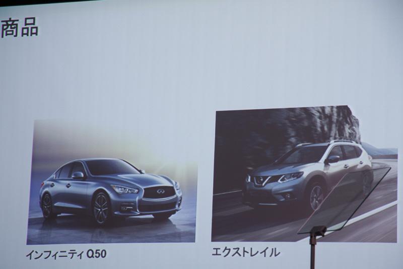 日産パワー88で新たに市場投入のタイミングを迎える新型車「インフィニティ Q50」「エクストレイル」は、グローバル成長モデルとして大きな利益を日産にもたらす車種になると解説された