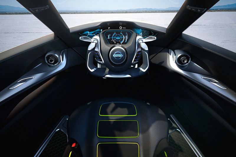 車体中央に設置される運転席はまさに航空機のコックピット感覚。Aピラーにはドアの開閉スイッチを備える
